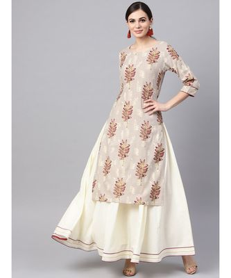 Floral Print Kurta With White Solid Skirt