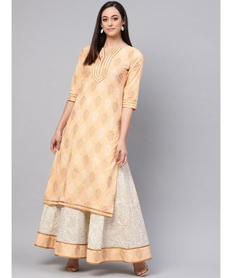 Saffron Printed Kurta With Gold Print Skirt