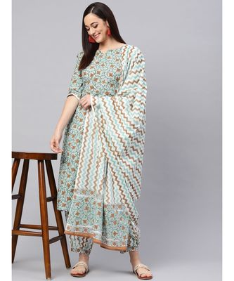 Hand Block  Jaal Print Kurta With Printed Salwar And Dupatta