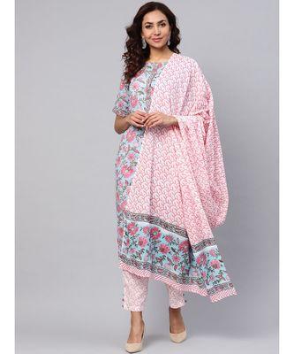 Hand Block Print Kurta With Cotton Pants And Dupatta