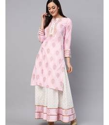 Baby Pink Printed Kurta With Gold Print Skirt