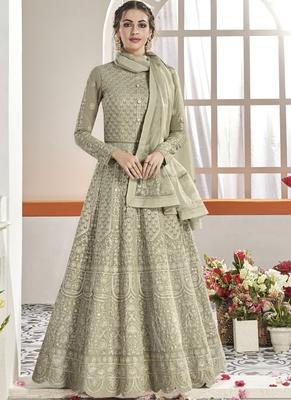 green Faux Georgette Anarkali Salwar Kameez