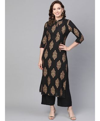 Black Gold Print Kurta Set