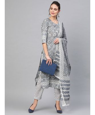 Grey & Black Print Kurta Set With Dupatta