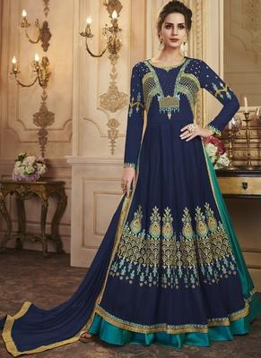 Royal Blue Faux Georgette Anarkali Salwar Kameez