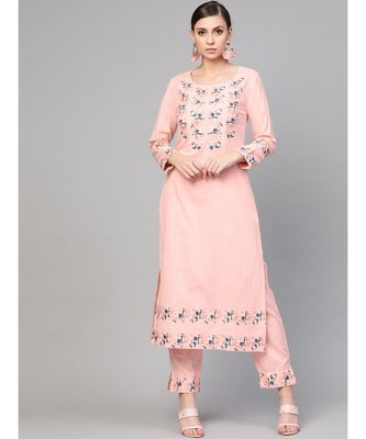 Baby Pink Embroidered Kurta With Pants
