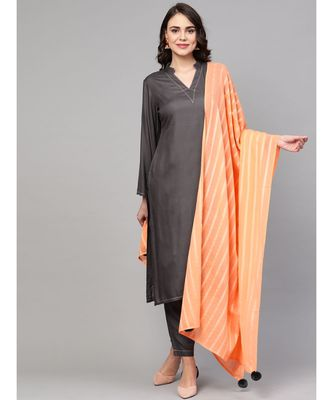 Grey Solid Rayon Kurta Set With Art Silk Dupatta
