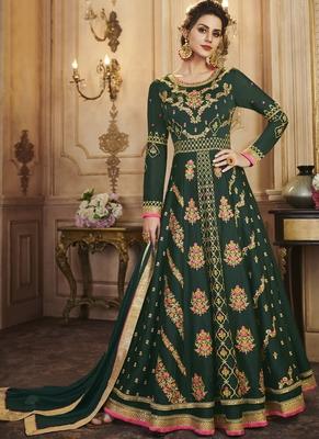 Dark Green Faux Georgette Anarkali Salwar Kameez