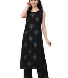 Women's Black Colour Khadi Print Flared Rayon Kurta With Palazzo