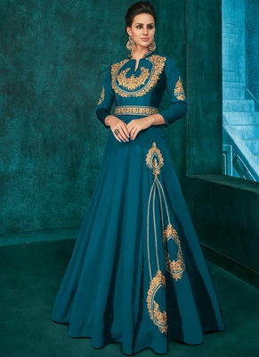 Dark green Silk Blend Anarkali Salwar Kameez