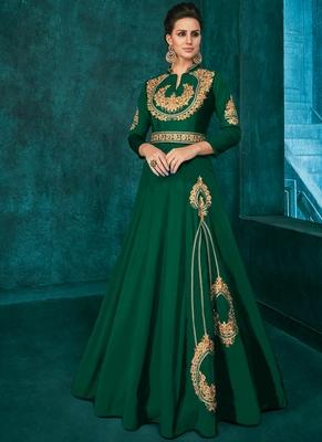 Dark Green Silk Blend Anarkali Salwar Kameez