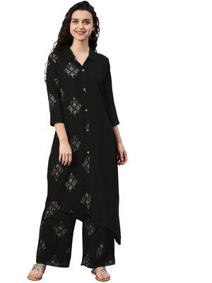Women's Black Colour Khadi Print Flared Rayon Kurta With Palazzo