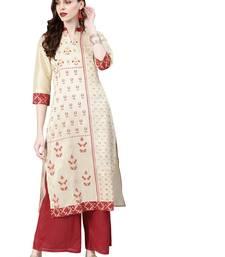 Women's Cream Colour Khadi Print Straight Polysilk Kurta With Palazzo