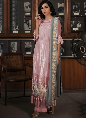 Baby Pink Georgette Pakistani Salwar Kameez