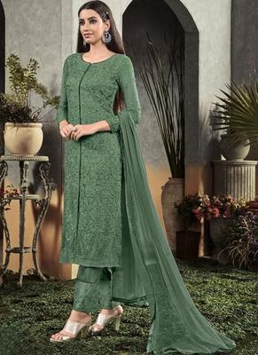 Sea Green Georgette Semi Stitched Salwar Suits