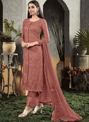 Light Brown Georgette Semi Stitched Salwar Suits