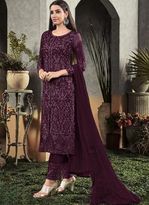 Dark Purple Georgette Semi Stitched Salwar Suits