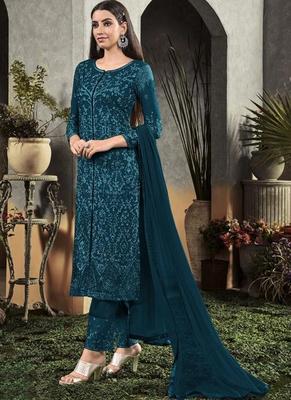 Dark Green Georgette Semi Stitched Salwar Suits