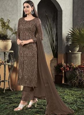 Brown Georgette Semi Stitched Salwar Suits