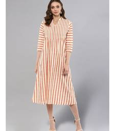 Cream Striped A-line Kurta