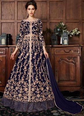 Royal Blue Net Anarkali Salwar Kameez