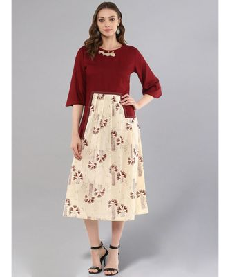 Maroon & Beige Pleated Dress
