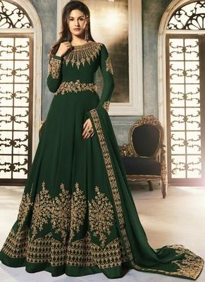 Green Georgette Anarkali Salwar Kameez