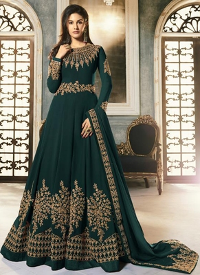 Dark Green Georgette Anarkali Salwar Kameez