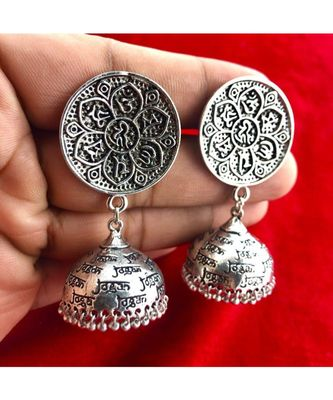 Beautiful Oxodized Earrings with Carved Mantras.