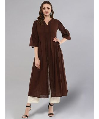 Coffe Flared Kurta With Front Slit
