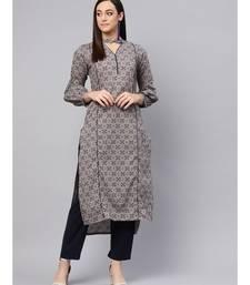 Grey Printed Straight Kurta