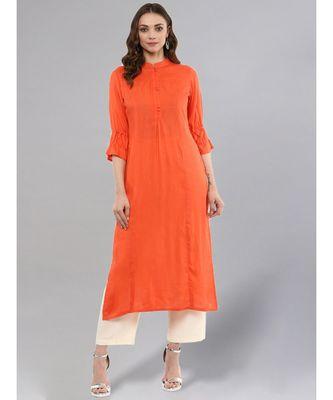 Orange Solid Straight Kurta