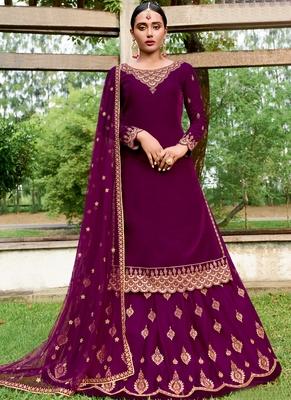 Rani Pink Velvet Pakistani Salwar Kameez