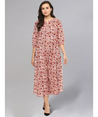 Maroon Jaal Print Maxi Dress