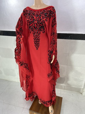 red Georgette aari & Zari Work Islamic Kaftan