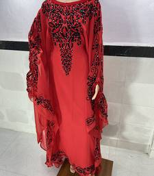 red Georgette aari & Zari Work Islamic Kaftan