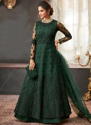 Dark Green Net Pakistani Salwar Kameez