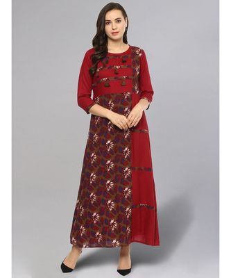 Printed Maroon Patched Kurta