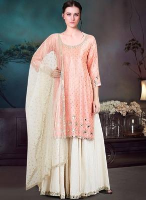 Baby Pink Satin Pakistani Salwar Kameez