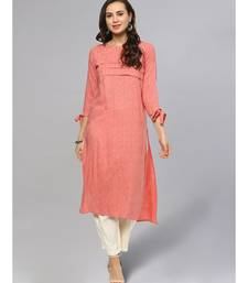 Pleated Printed Straight Kurta