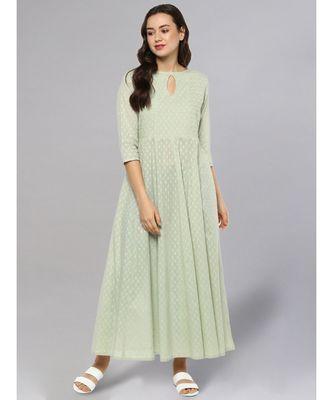 Sage Green Textured Anarkali