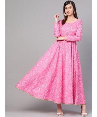Pink Bandhani Print Flashed Dress