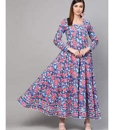 Royal Blue Hand Block Floral Print Anarkali Dress
