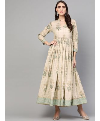 Cream Gold Boota Print Anarkali Dress