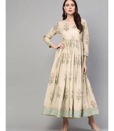 Cream Gold Boota Print Anarkali Dress