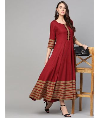 Maroon Anarkali Dress