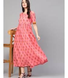 Coral Printed Cold Shoulder Dress