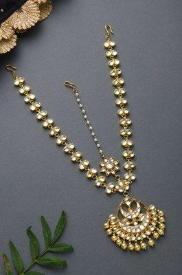 Riana Kundan Gold Tone With Shell Pearls Maatha Patti
