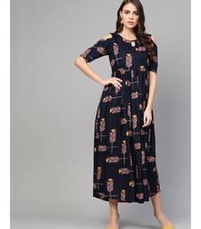 Navy Blue Printed Cold Shoulder Dress
