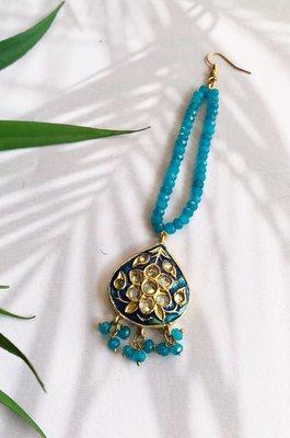 Tahira Turquoise Handcrafted Beaded Mang Tikka